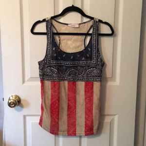 3 for $20 ICING PAISLEY PATRIOTIC TANK TOP
